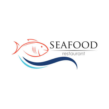 Seafood restaurant design. Fish, Food and Beverage concept. Vector template