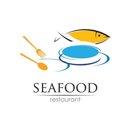 Seafood restaurant design. Fish, Food and Beverage concept. Vector template Vektorové ilustrace
