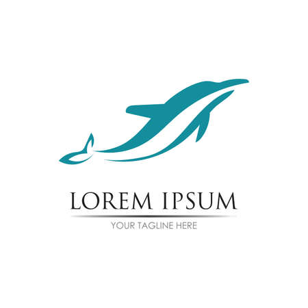 Dolphin Logo Template Vector. Dolphin jumping logo design concept. Logo