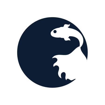 Fish animal aquatic logo beta fish design vector and illustration Logo