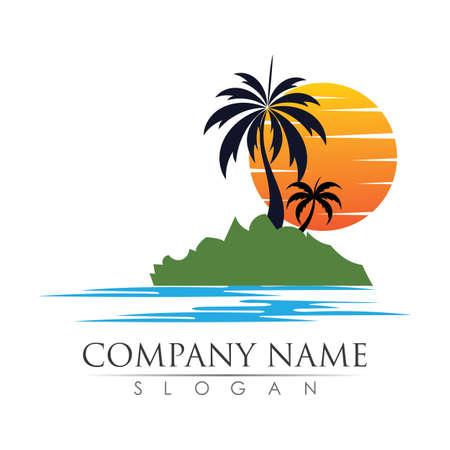 Palm tree logo template vector illustration design
