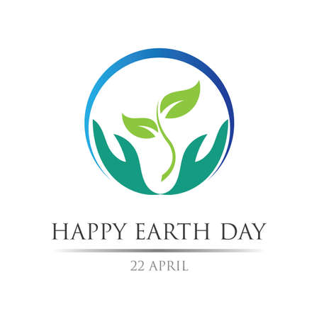 earth day logo illustration design template,happy earth day 22 april
