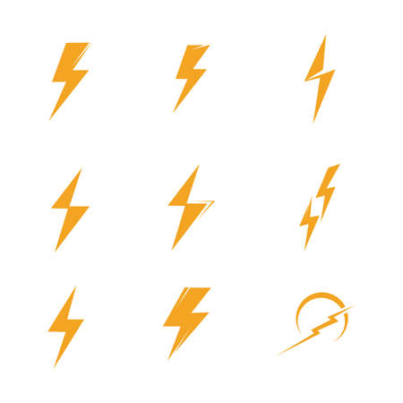 Lightning bolt icon logo set creative vector illustration