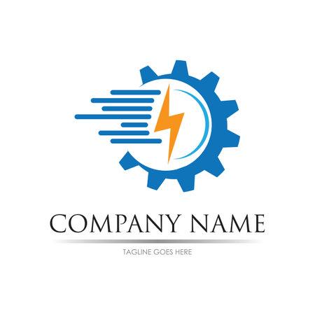 Gear power logo images illustration design template Logos