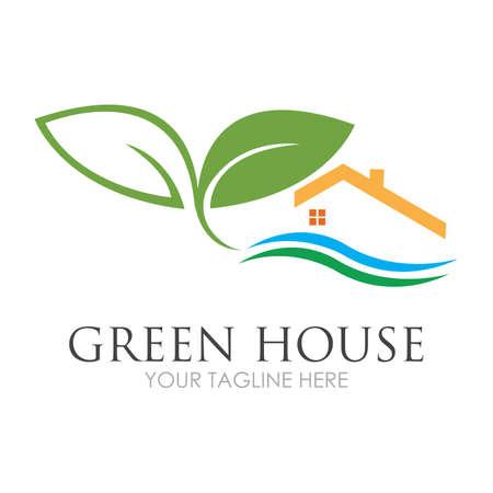 Green House Logo Template Design Vector Illustration Logo