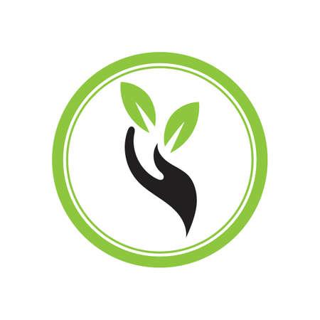 creative hand and leaf logo vector illustration design template Illusztráció