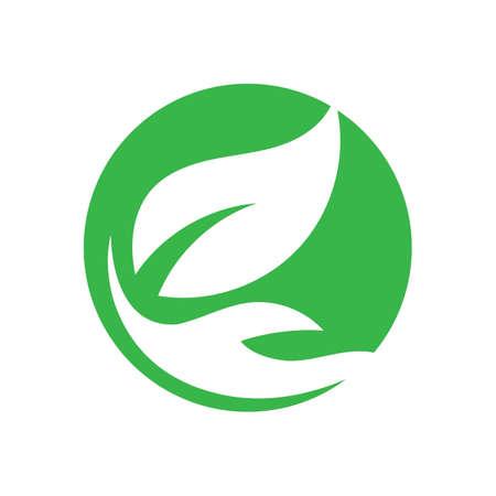 hand and leaf logo vector illustration design template Illusztráció