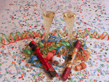 champagne, cracker, confetti and a happy new year Stock Photo - 8530833