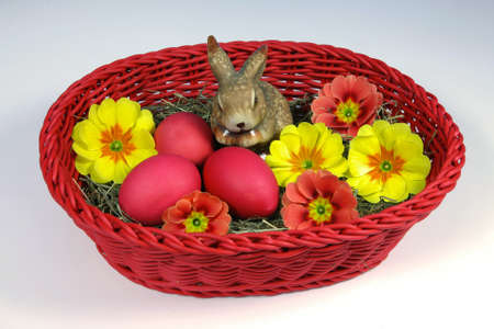hen's: red Easter eggs and Easter bunny in a basket