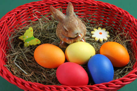 hen's: Easter basket with hay hen s eggs and Easter bunny