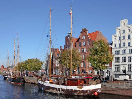 traditional sailers on the river Trave in Luebeck, Germany