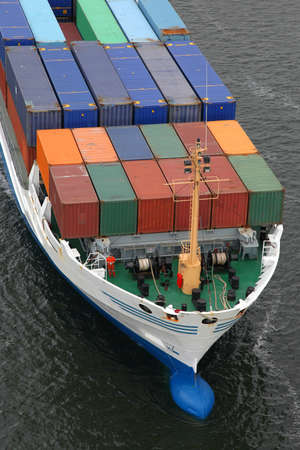 bird 's eye view: details of an container ship Stock Photo