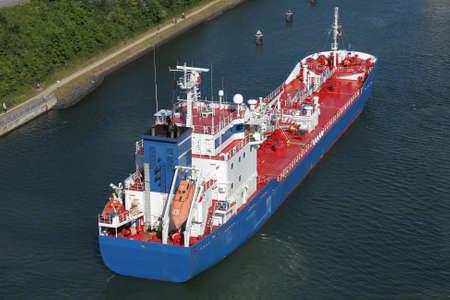 tanker on Kiel Canal Stock Photo