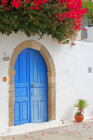 color bougainvillea: in a beautiful village on the island of Rhodes, Greece