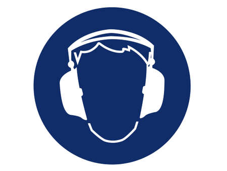 ear protection: pictogram of ear protection  Stock Photo