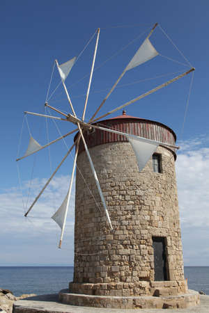 windmill on the island of Rhodes, Greece photo