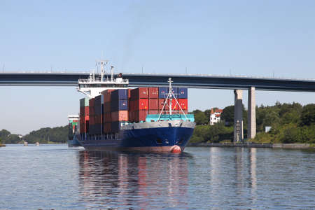 kiel: container ship on Kiel Canal