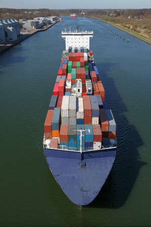 ship bow: container ship on Kiel Canal