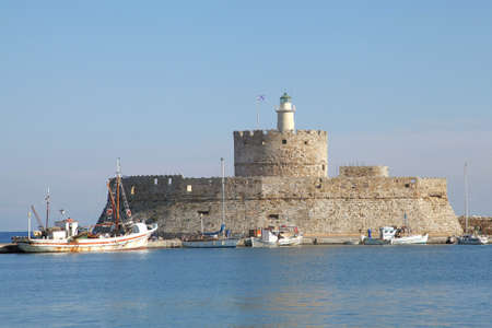 fortress Agios Nicolaos on the harbor of Rhodes, Greece