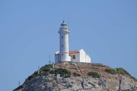 navigational light: lighthouse on a hillock Stock Photo
