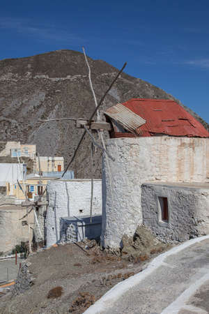 tumble down: old windmills in Olympos on the island of Karpathos Stock Photo