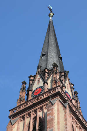 sachsenhausen: steeple of Dreikoenigskirche in Frankfurt, Germany Stock Photo