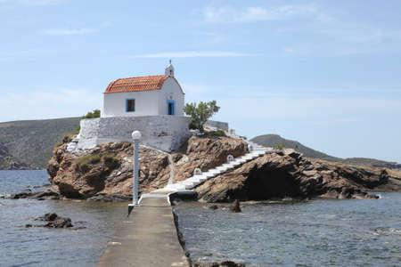 picturesque church on a rock in the Aegean Sea, Leros