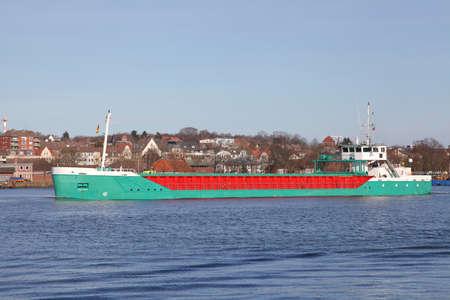 kiel: freighter on Kiel Canal, Germany