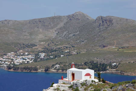 chapel on Leros island with view to the Aegean Sea Stock Photo