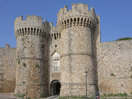 the medieval Marine Gate of Rhodes, Greece Editorial