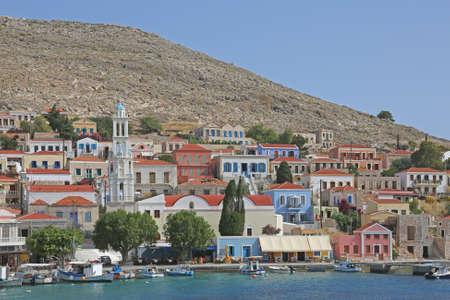 the picturesque harbor of the greek island Halki Stock Photo