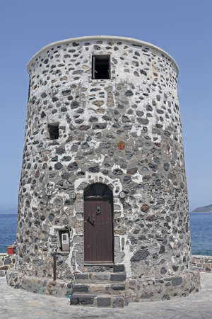 building of an old windmill on the island of Nisyros, Greece