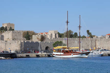 harbor and the old town of Rhodes, Greece
