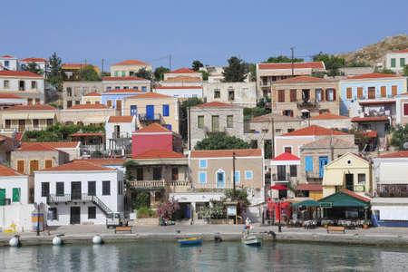 the harbor of the island Halki, Greece