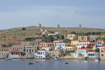 halki: the harbor of die greek island Halki Stock Photo