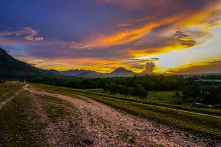 Purwakarta, West Java, Indonesia (03302018) : The view in Jatiluhur Dam with beautiful sunset