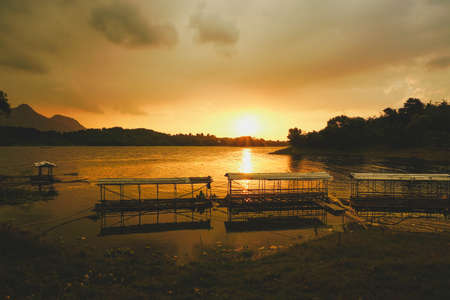 Purwakarta, West Java, Indonesia (03302018) : Beautiful sunset in Jatiluhur Dam fishing place