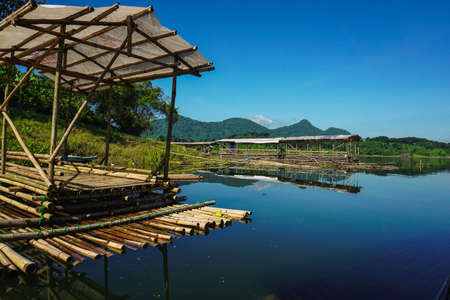 Purwakarta, West Java, Indonesia (03302018) : A group of fishing rafts at the edge of Jatiluhur Dam
