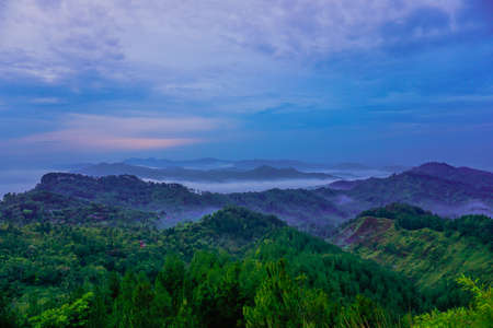 The view from Buluh Payung Hill just after sunrise. Kebumen, Central Java, Indonesia