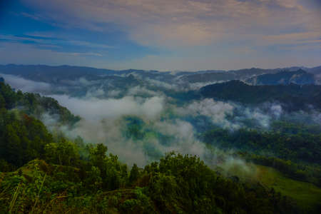 Sunrise view in the hills of Buluh Payung, Kebumen, Central Java, Indonesia
