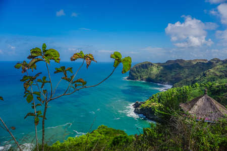 Beautiful landscape of Sawangan Hills with an Indian Ocean background in Kebumen, Central Java, Indonesia
