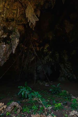 View of the mouth cave Siwowo at the tourism Sawangan Adventure, Kebumen, Central Java, Indonesia Stock Photo