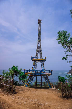 Miniature Tower on the hill at Watu Bale Beach, Kebumen, Central Java, Indonesia