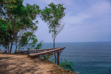 Interesting photo spot on the hill at Watu Bale Beach, Kebumen, Central Java, Indonesia Stock Photo