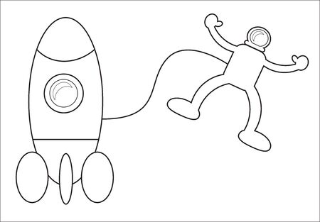 Astronaut coloring book on the sky for children Ilustração