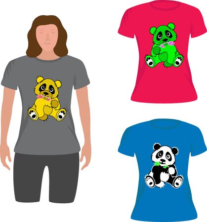 T shirt girl with panda image for fashion at the shop
