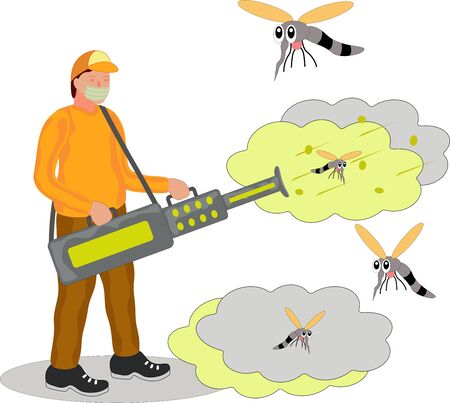 Vector illustration of disinfectant fogging to kill insects