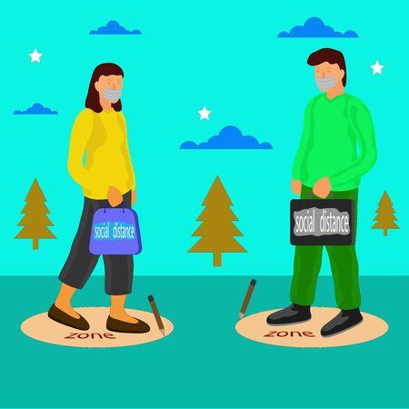 Social distancing free vector illustration