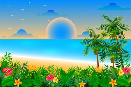 Sunset time on the tropical beach vector illustration Ilustración de vector