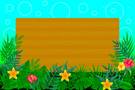 Tropical leaves background with wooden board vector illustration Illustration